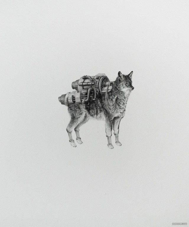 创意无敌动物组合,黑白素描平面插画设计