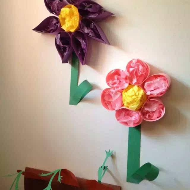 幼儿园春天走廊手工环创主题墙布置!