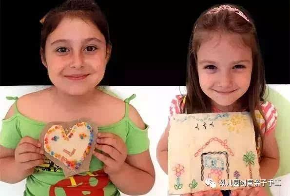 幼儿园创意亲子手工,用树枝 毛线和吸管做粘贴画