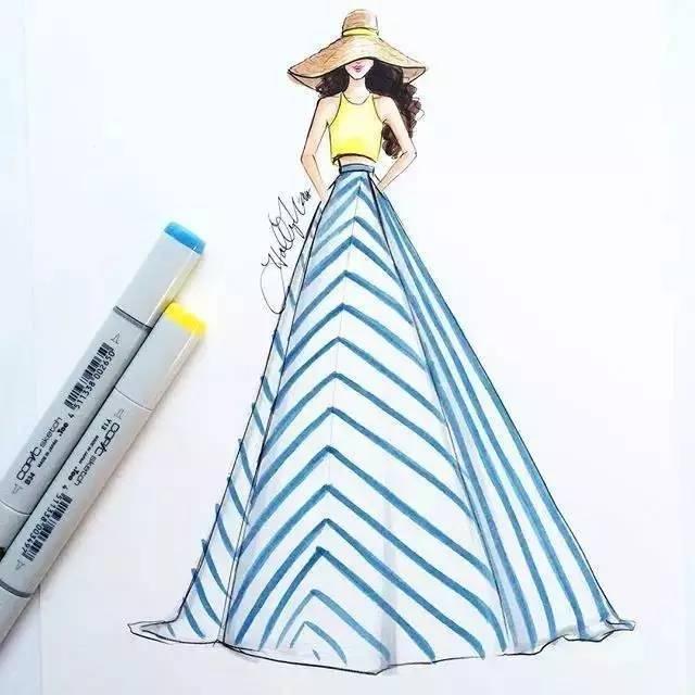 60例马克笔手绘服装效果图合集