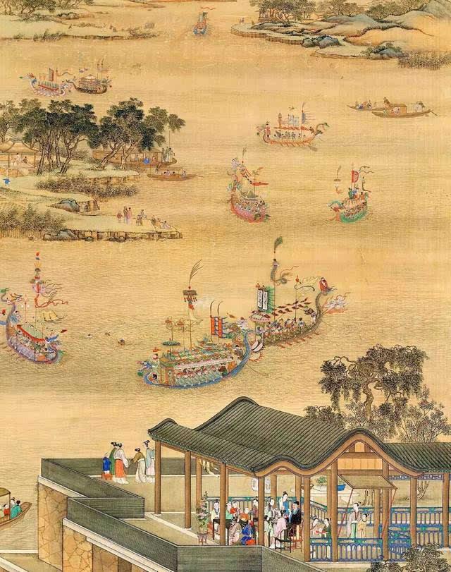 《雍正十二月行乐图》之 五月竞舟 (局部) 郎世宁