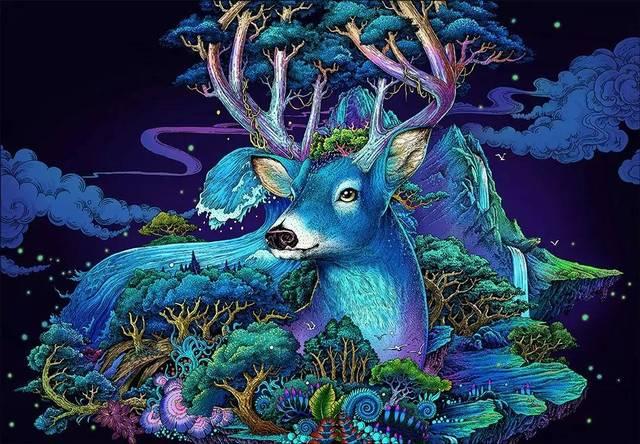 中国插画师手绘四季之鹿,唯美华丽的浮世绘风!