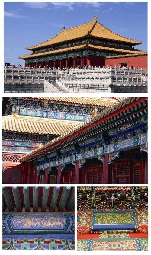 古建筑彩绘的典型代表是故宫,是明清24位皇帝的皇家宫殿,是我国古代