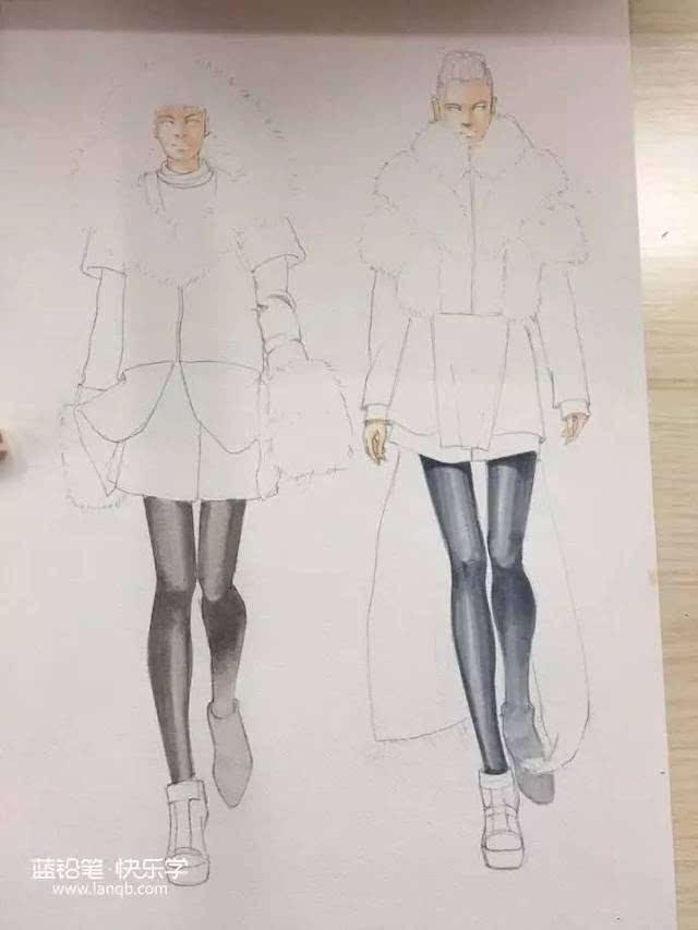 教你用马克笔手绘一套冬季时装插画!