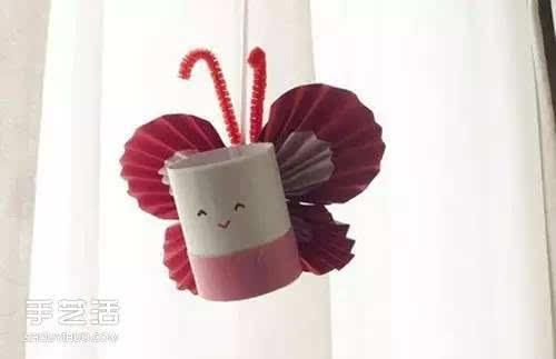 幼儿手工 卫生纸筒手工制作可爱蝴蝶