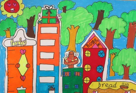 2017年大良街道中小学生绘画大赛, 投票火热进行中, 同样的景色,不同的理解, 从这些作品中,你又能读出什么呢?  绘画作品赏析   小学组  作品名称:美丽的街道 学校:本原小学 姓名:陈凭希 班级:六3 指导教师:曾小仪 创作思路:城市的街道绿树成荫,交通有序。   作品名称:高楼与森林 学校:大良聚胜小学 姓名:陈宇 班级:四年(4)班 指导老师:周杰文 创作思路:城市里空气不是很好,希望在高楼的周围种上很多树木,改善空气质量。   作品名称:森林乐园 学校:顺德区红岗小学 姓名:董笑柔 班级:五