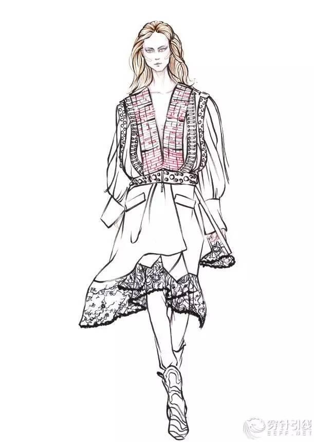 时装手绘 | 时装画分解步骤,蕾丝 皮质肌理外套