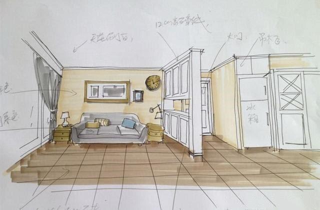 设计师的手绘图,挺有感觉的 客厅 现在看到图很感慨,想当初瓷砖,沙发