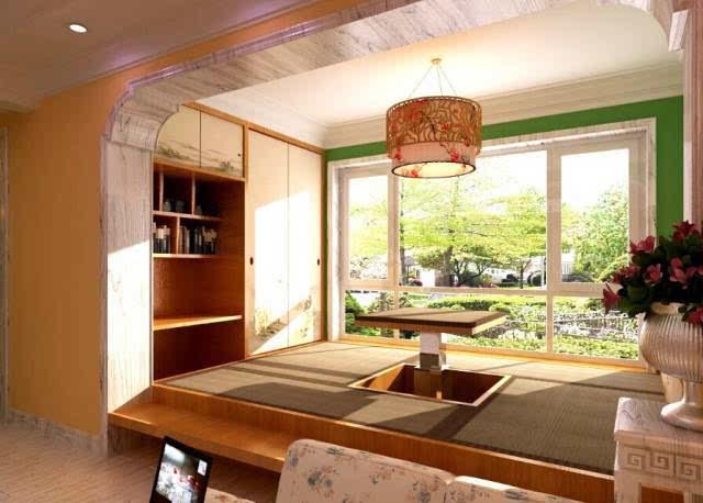 安装在榻榻米上的升降桌是可以收起来的.图片