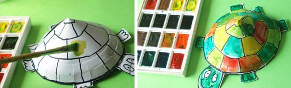 (建议在WiFi环境下观看视频) 听爸爸妈妈或老师讲完龟兔赛跑的故事,小朋友们明白了什么道理了?做事要坚持对不对?How clever you are!中幼君给你点赞。 今天中幼君为大家找到的手工制作方法就是小乌龟的制作方法哦。因为要用到剪刀,建议小朋友们在家长或老师的陪同下操作哦~  准备小圆盘、剪刀、订书机、涂料