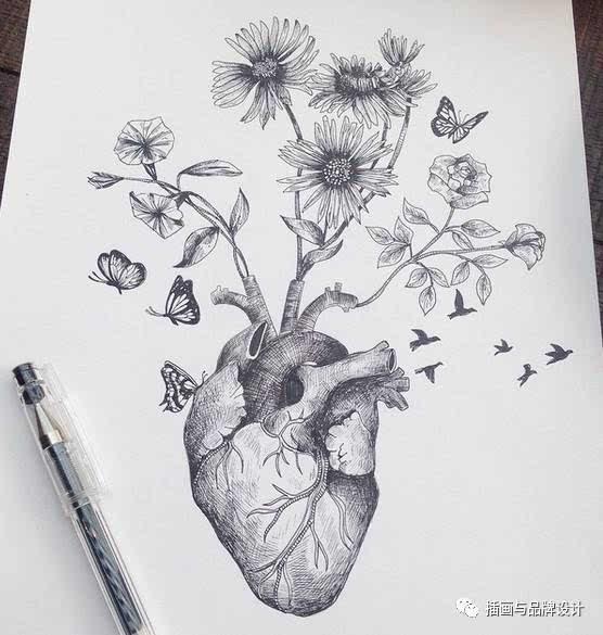 唯美简单手绘笔画