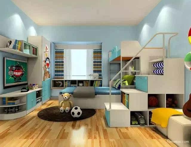 区别普通的平行重叠设计的上下床,这种错位格局给下面的空间创造了