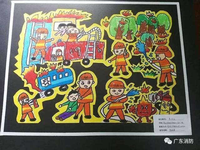 儿童画消防员图片大全-我是小小消防员 第二届儿童消防绘画作文竞赛