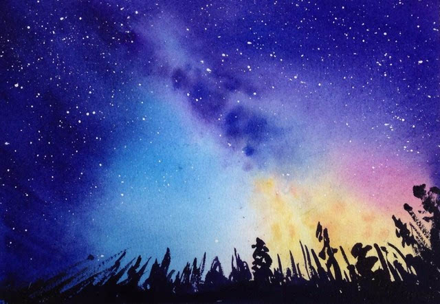 超简单 15分钟教你画出唯美水彩星空