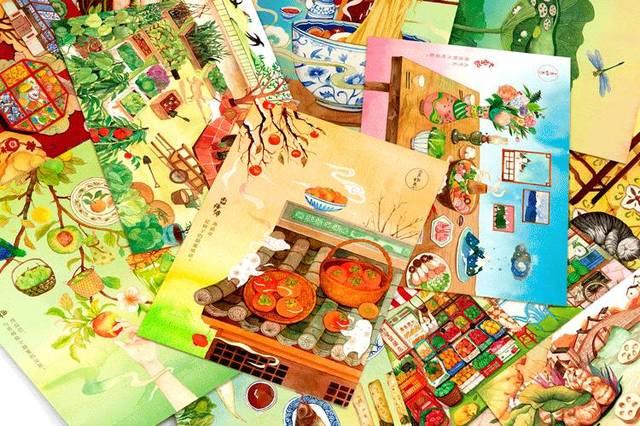 食物恋水彩手绘明信片 (内含6张) ▼ 「食物恋」传家餐桌手账礼盒