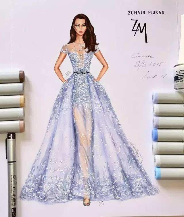 设计灵感 | 马克笔,彩铅的手绘礼服婚纱强势来袭!