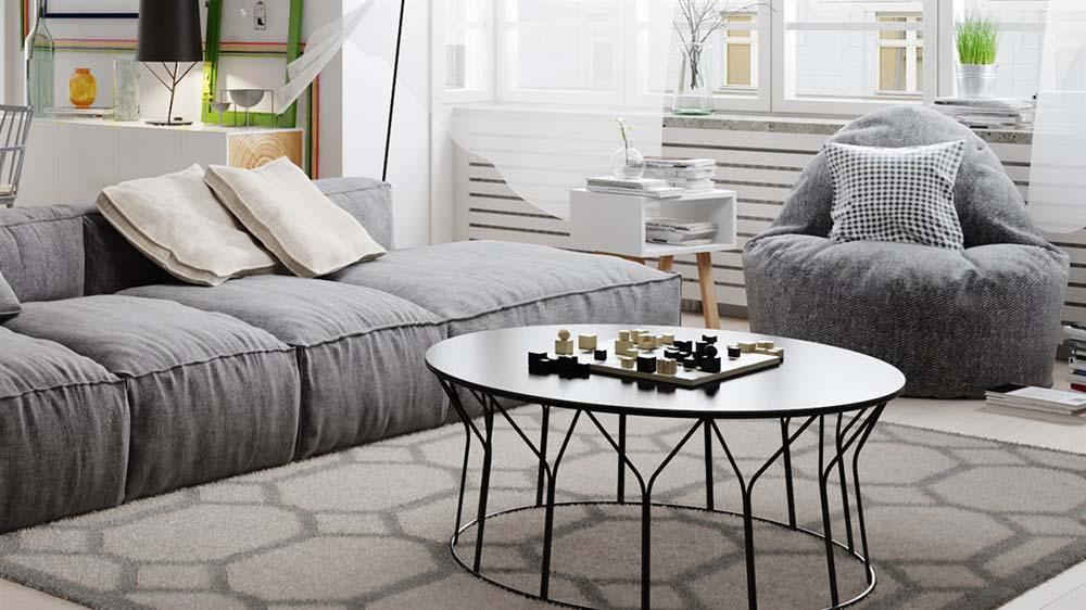 客厅用了慵懒的布艺沙发 茶几,边几,灯具都以线条风格呈现,虽为铁艺图片