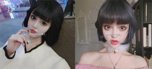 粗略估计这位妹子做的是欧式大宽双眼皮,开了眼角,带了美瞳(网红都带图片