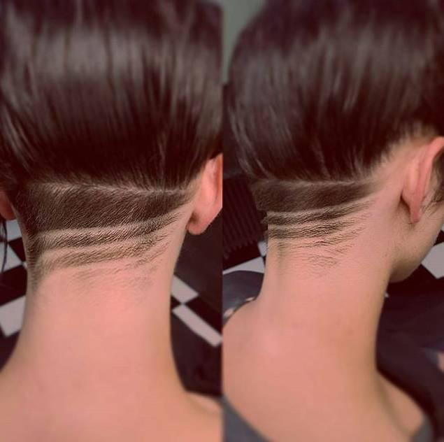 ▼ 如果你是保守派或者不喜欢图案的话 也可以直接把后面的头发剃掉图片
