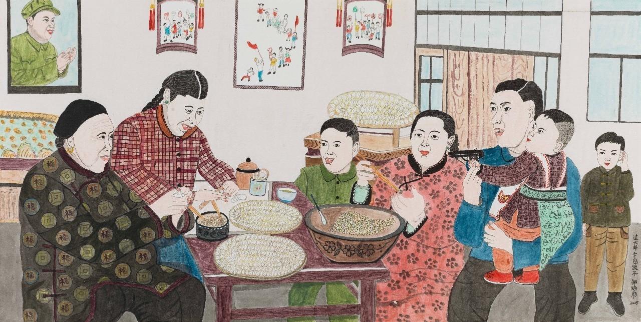 过去农村过年的景象在她的画里还原,坐在床沿上一家人分工包饺子的