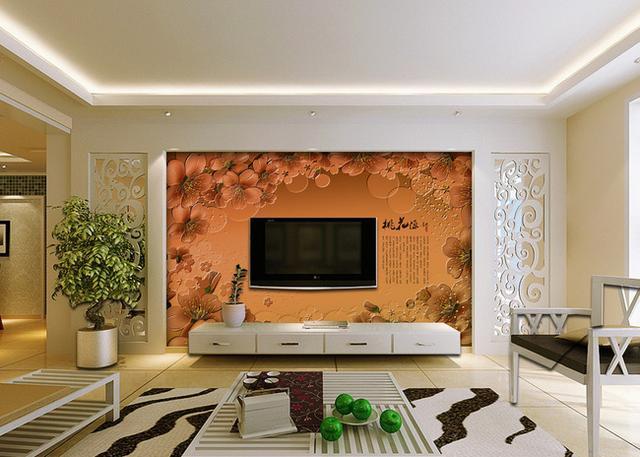 2016时尚客厅电视背景墙壁纸装修效果图