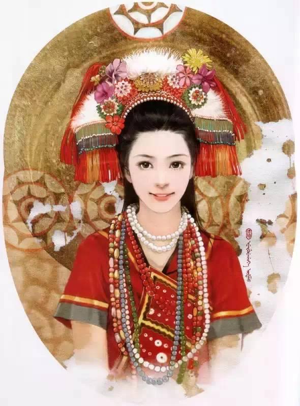 56个插画美女,56种民族风情