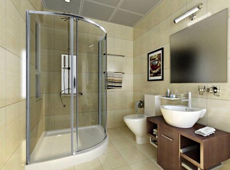 木质的浴室柜简单实用,地砖颜色与瓷片颜色一致.