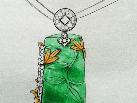 金属首饰手绘效果图