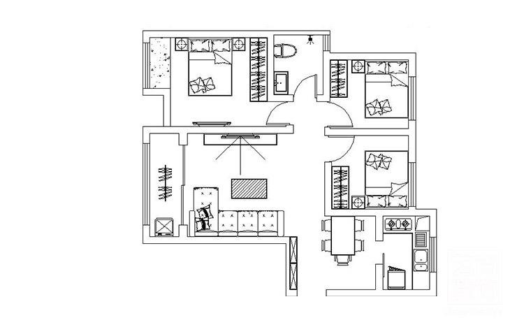 谦祥万和城三室两厅新古典装修效果图,餐厅装修效果图