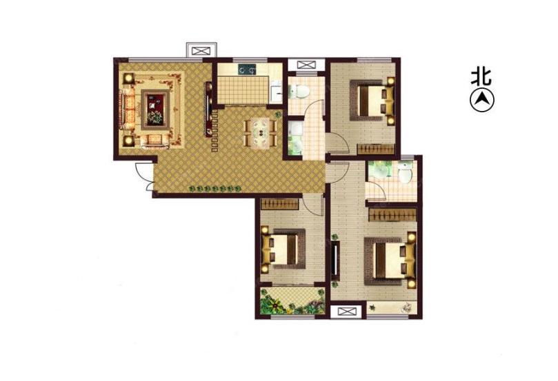 龙湖上公馆装修效果图平面户型图——三室两厅120平案例