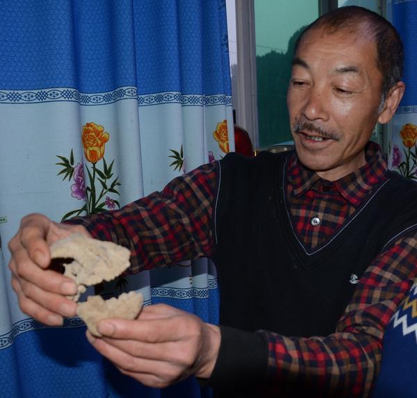 农民在山上挖出猴头化石 称具有极高的收藏价值