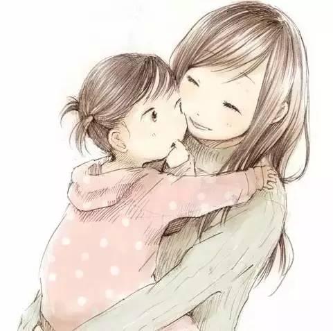 辣妈抱娃头像卡通