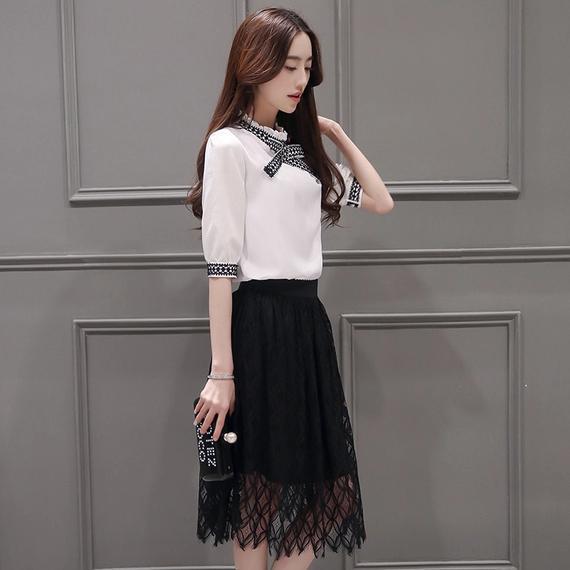 9.夏装新款韩版时尚女装修身蕾丝裙子两件套雪纺套装裙图片