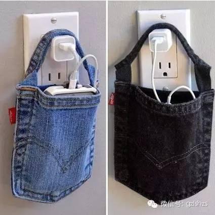 用牛仔裤袋做一个简单的置物袋吧
