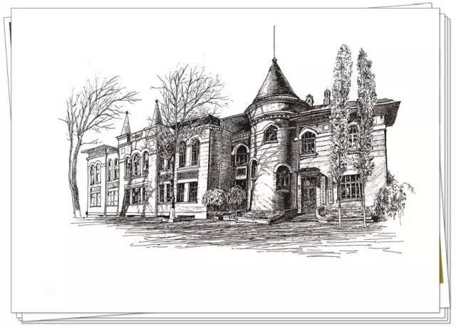 哥特式风格建筑手绘图片