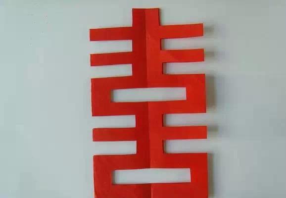 纸剪的囍字步骤图解