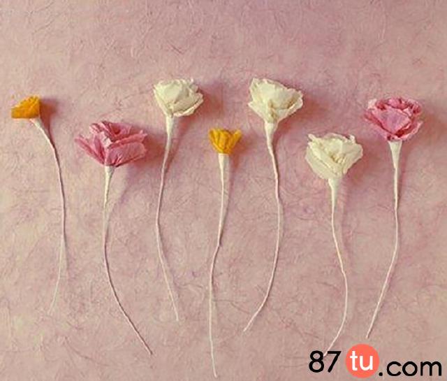 皱纹纸玫瑰花折纸图解教程