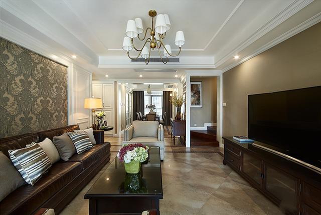 简美客厅风格电视墙装修效果图