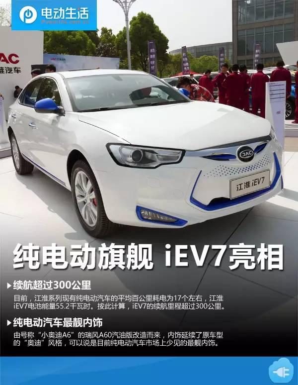 江淮iEV7纯电动汽车亮相 续航超300公里高清图片