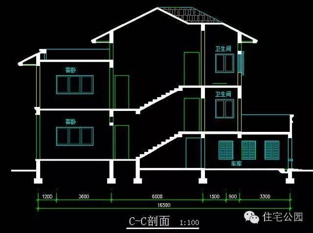 新农村自建房2.5层户型 16米面宽 含平面图