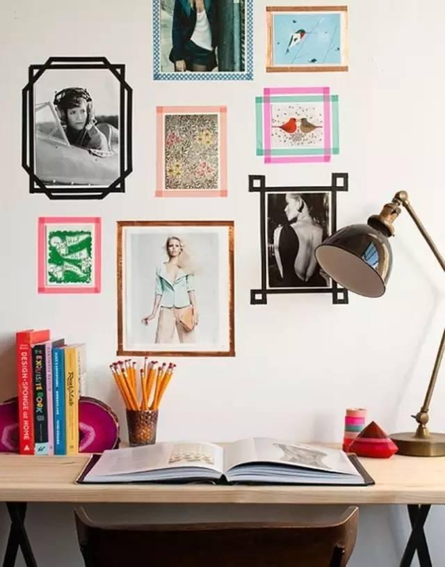 胶带框的照片墙图片