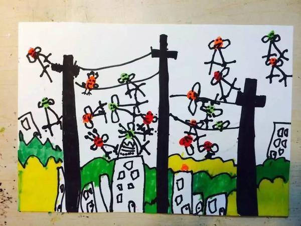 32号柠檬作品:电线杆上的小鸟图片