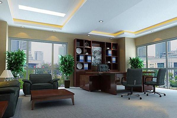 办公室背景墙以立体化的浮雕图案和灵动的拼装穿透美学,让主人自己