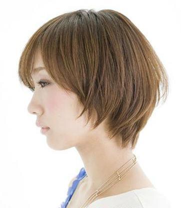 学生斜刘海包脸碎发层次烫短发发型图片