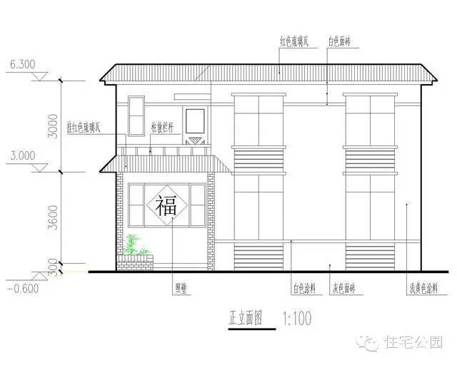 新农村自建房 11米面宽兄弟双拼别墅设计图