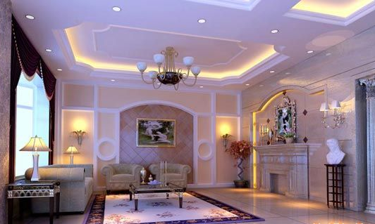 别墅客厅吊顶装修效果图-别墅设计图片