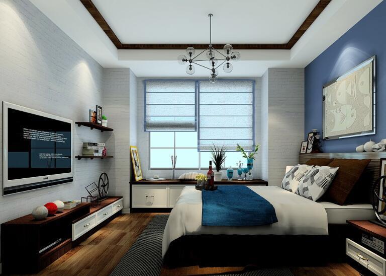 紧靠窗户搭配的收纳柜及电视柜背景墙搭配的悬空