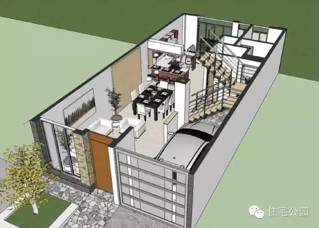 农村自建房6米x12米 2层半带车库露台 3d设计图图片