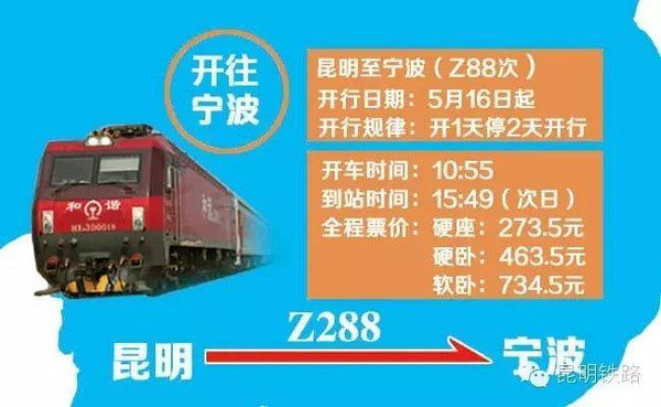 春城牵手甬城 昆明至宁波直达列车5月16日正式开行图片 67247 600x369