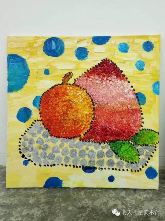 西瓜撕贴美术作品